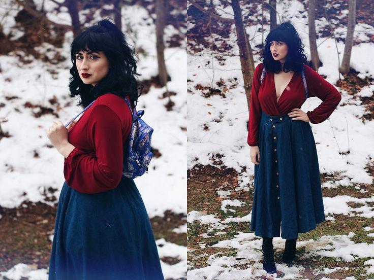 Adrianna Nicole - H&M Red Romper, Forever 21 Asian Backpack - December