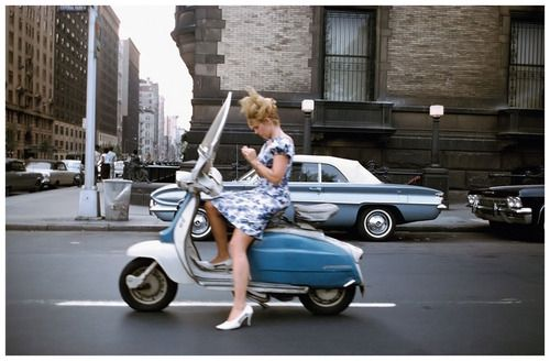 vintageeveryday: A girl on a scooter, New York City, 1965 –...