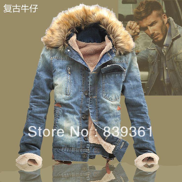 Куртка хлопок - мягкий деним короткая, зима мужчины в винтажный тёплый тепловой утолщение ватные куртки приталенный пальто с мех флис воротник