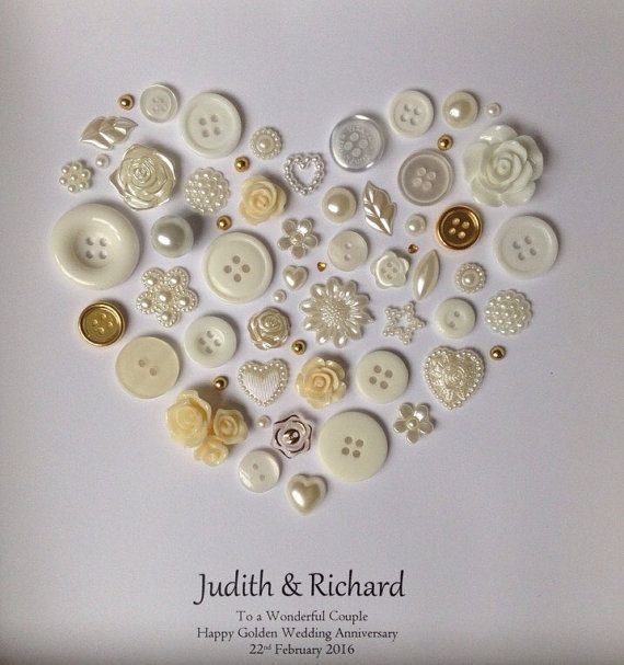 Golden Wedding Anniversary Button Art 50th Gift Present Happy Couple Gold