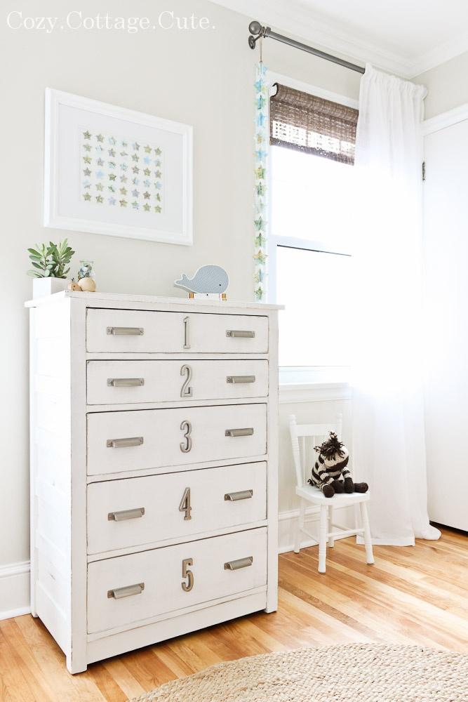 Cozy.Cottage.Cute.: Little Ninja's Nursery - pretty nursery with numbered drawers @ CozyCottageCute.com