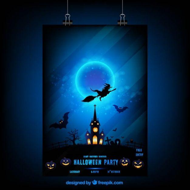 ночь плакат Хэллоуин с ведьмой и посещаемый дом свободный вектор