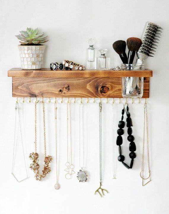 Jewelry Organizer With Shelf, Necklace Holder and Mason Jar