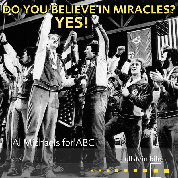 """Do you believe in miracles?! Yes!"" The Miracle on Ice refers to the medal-round game between the hosting United States, and the defending gold medalists, the Soviet Union during the men's ice hockey tournament at the 1980 Winter Olympics in Lake Placid. The U.S. team won the game 4-3 in a major upset against the Cold War rival. ABC reporter Al Michaels declared in the final seconds, ""Do you believe in miracles?! Yes!"""