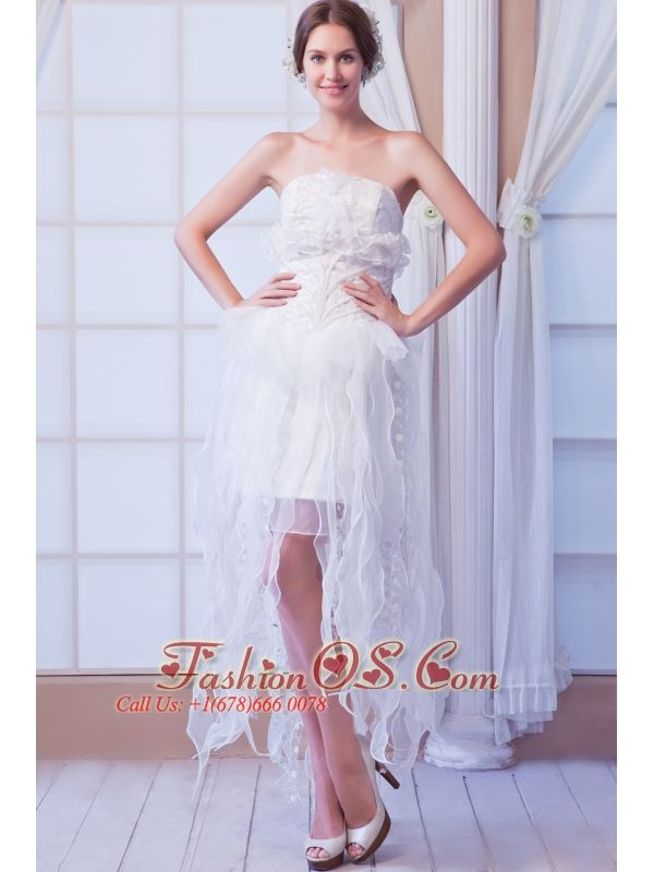 White Column Strapless Asymmetrical Organza Beading Weeding Dress  http://www.facebook.com/quinceaneradress.fashionos.us  www.fashionos.com  This fashionable white wedding dress has delicate decoration and boning details on the structured bodice adorned with tucks of organza, which gives you a great impression. The mini-skirt falls down asymmetrical organza galloon at will that can reveal your unique quality. A hidden zipper makes for easy off and on and secures the dress in place.