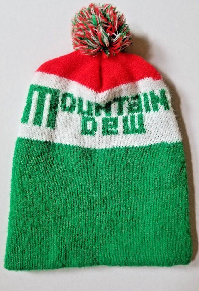 Vintage Mountain Dew Stocking Hat Cap USA Acrylic Red Green White   MountainDew  Cap 054d076369a
