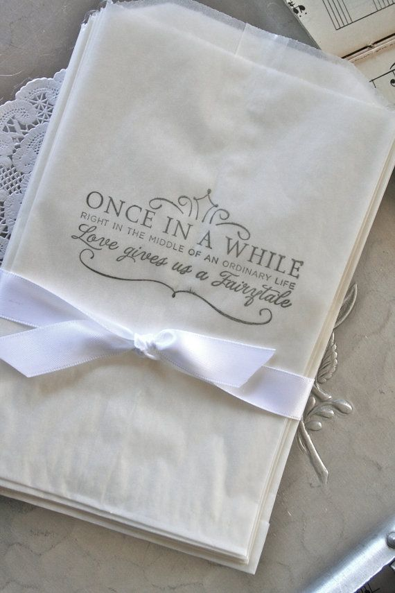 25 Wedding Glassine Bags Fairytale Life by TheSalvage on Etsy, $6.99 @Danielle Marie