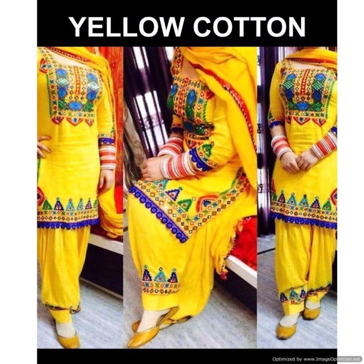 Piramalls  Patiyala Salwar Suit Yellow Color Embroidered work