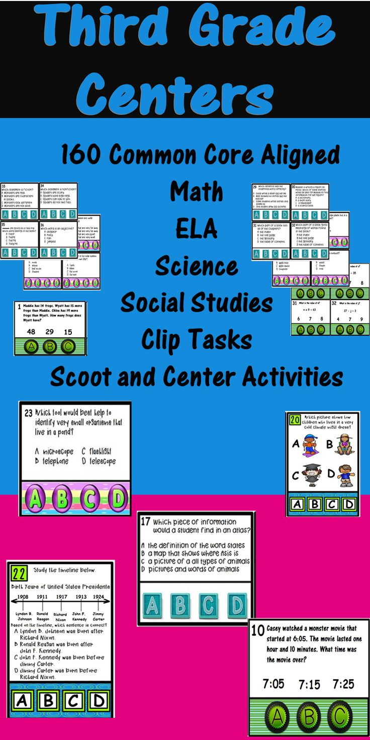 160 Fun 3rd Grade Common Core Aligned ELA, Math, Science, and Social Studies Clip Tasks, Scoot Games, and Center Activities in one bundle!