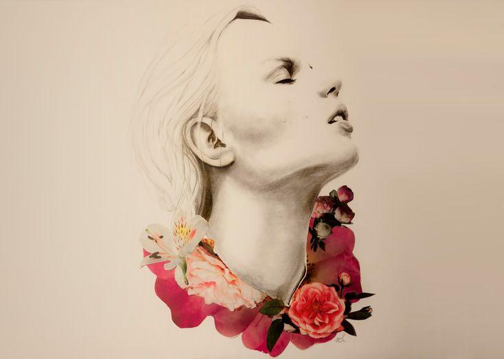 petal lids #pencil #drawing #sketch #portrait #woman #girl #floral #petals #flowers #blossom #collage #mixedmedia #minimal #art #artsaned #arts_help #sketchoftheday #illustration #instaart