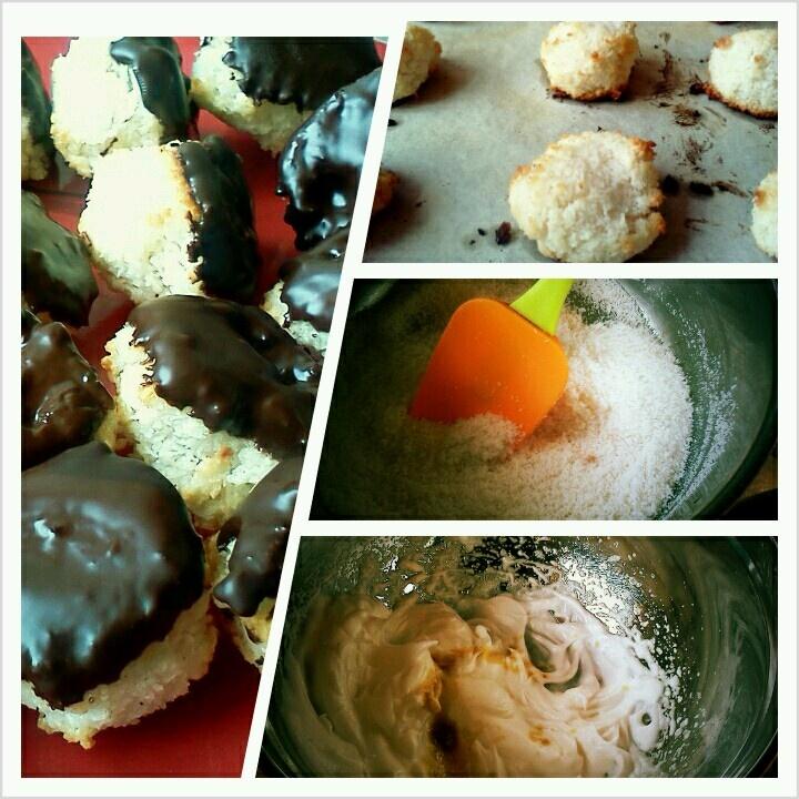 coconut macaroons dipped in dark chocolate