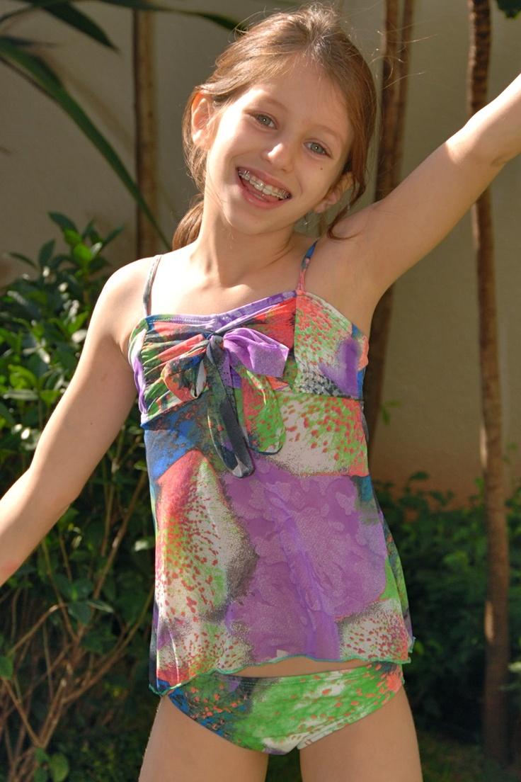 Aquarela Girls Tankini Lemons Limes Kids Swimwear