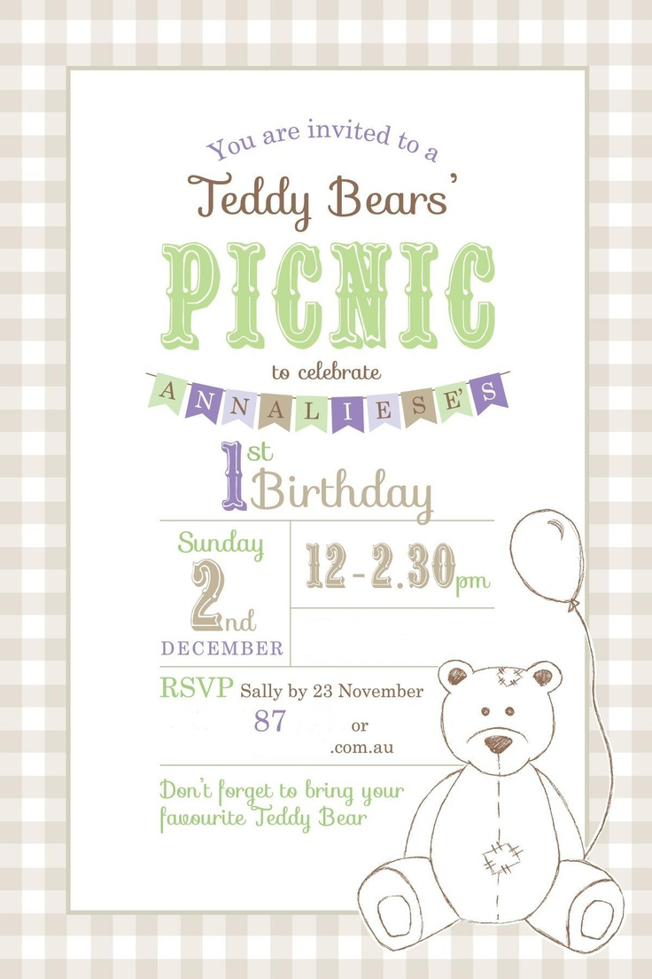 73 best Teddy Bear Picnic images on Pinterest | Birthdays, Teddy ...