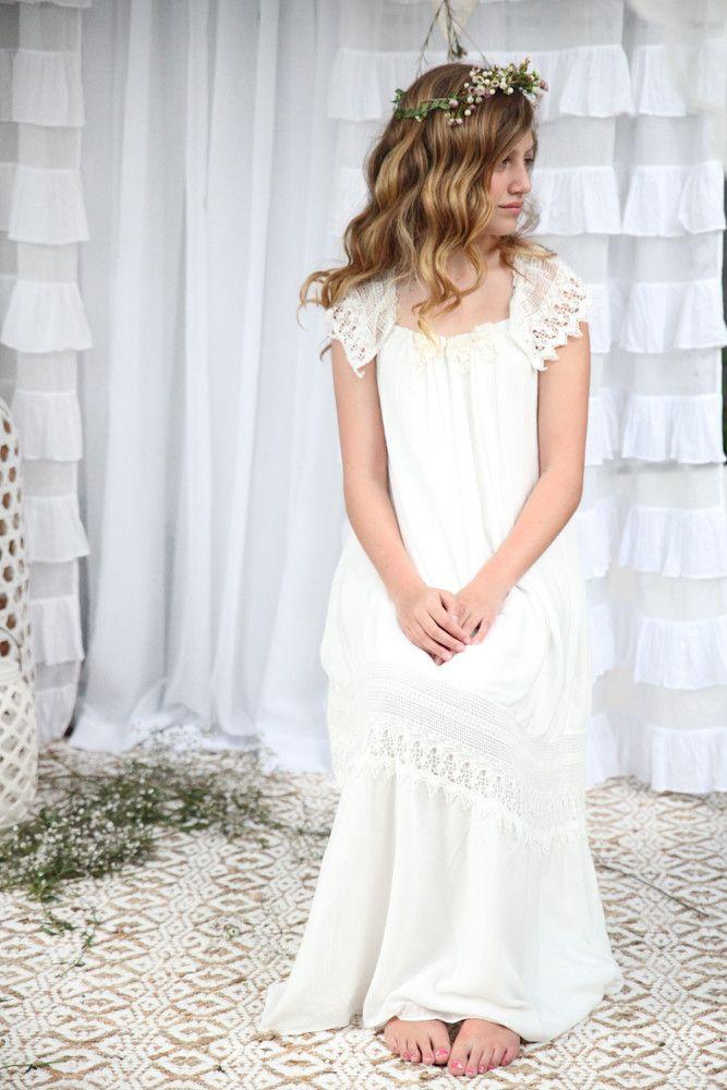 Haven Maxi Dress - Off white/ Ivory Bohemian Flower Girl  Flowergirls Junior Bridesmaid Flower girl dresses