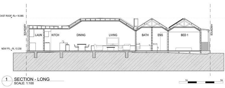 Corte longitudinal de la pequeña casa