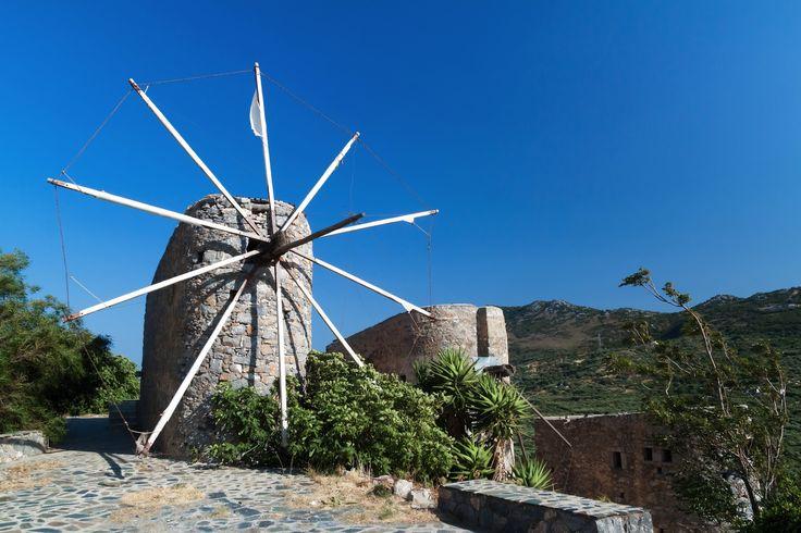 Ancient windmills of Lasithi Plateau on Crete, Greece