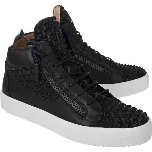 GIUSEPPE ZANOTTI May London Picard Nero Black // High-top leather... (763,640 KRW) ❤ liked on Polyvore featuring men's fashion, men's shoes, men's sneakers, mens leather high top sneakers, mens leather shoes, mens black sneakers, mens black leather shoes and giuseppe zanotti mens shoes