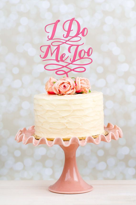 Wedding Cake Topper  I do Me too  Hot Pink by betteroffwed on Etsy