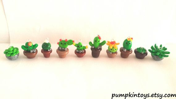 Cactus & Plants Cute Clay Charms by PumpkinToys on Etsy
