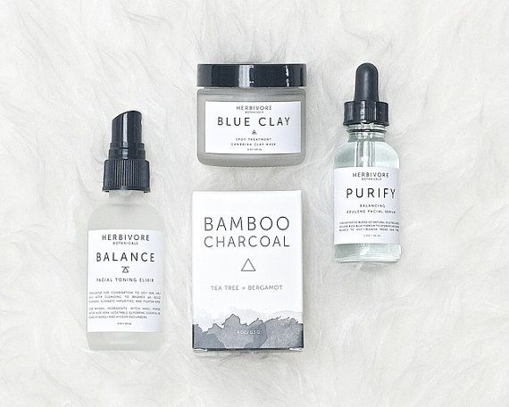 Combination to Oily Skin Care Travel Set. Bamboo Charcoal Soap. Purify Serum. Blue Mask. Balance Toner.