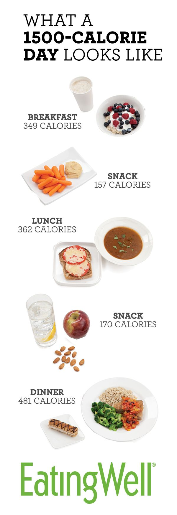 Most people will lose weight on a daily diet of 1,500 calories, which is the total calorie count for all the food pictured here. +++ Visit our website and get your free recipes now!