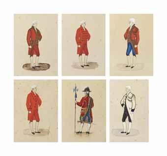 Franse school van de XIXe eeuw  Zes kostuum studies van graaf Boni eigen medewerkers van Castellane die Ad officer, de butlers en butlers, grote lakei in livrei en hellebaardier elk onderzoek met de titel en met inscriptie 'Cte Boni de Castellane'