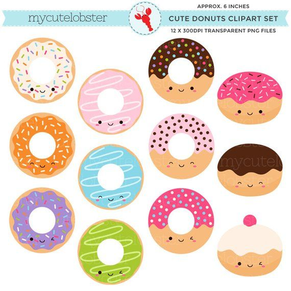 Donut cute. Donuts clipart set clip