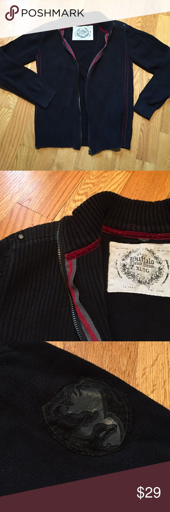 Buffalo David Bitton zip up sweater Buffalo David Bitton 100% cotton black ribbed zip up. Had patch on left upper sleeve and red inside lining. Great condition Buffalo David Bitton Sweaters Zip Up