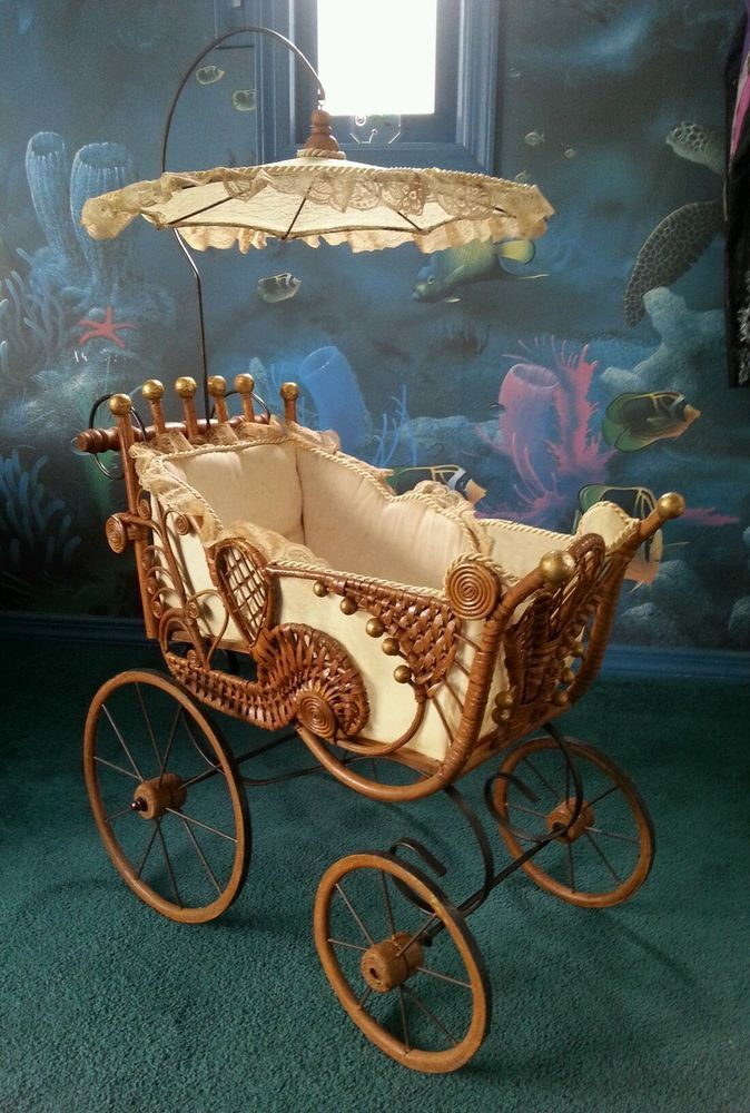 Rare Antique Baby Doll Carriage Buggy Stroller Pram Wicker