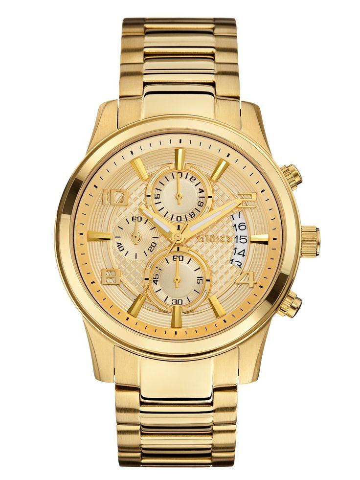Gold-Tone Masculine Dress Chronograph Watch