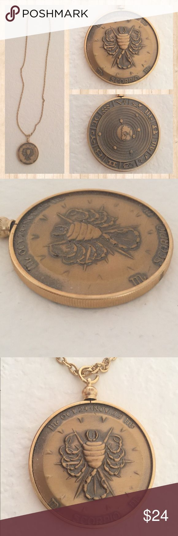 "SCORPIO Brass Horoscope Medallion Style Pendent Are you a Scorpio? Men or Women born October 24th - November 22nd. This is a vintage piece that has been in my drawer since it was brand new. Never worn NWOT. I would love to see someone else enjoy it. The medallion is Brass. Do not know what the chain metal is. The diameter of the medallion is 1 1/2"" Wide. Chain length is 24"". The Medallion has some depth to it, like a coin, as pictured. Front shows Scorpio sign, back side shows all of the…"