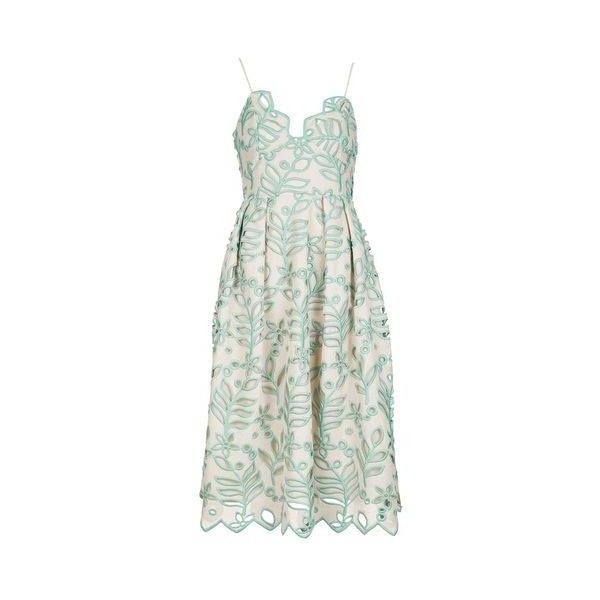 TopShop Cutwork Leaf Prom Dress (€175) ❤ liked on Polyvore featuring dresses, nude, evening dresses, green prom dresses, v neck prom dress, green cocktail dress and midi cocktail dress