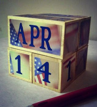 perpetual PATRIOTIC USA wooden calendar unique gift for teacher decorative decor for office cubicle classroom home military service (20.25 USD) by AFieldOfSunflowers