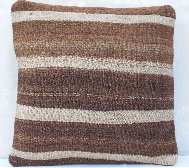 16x16'' Turkish Boho Brown Kilim Cushion Cover, 40x40 Outdoor Patio Pillow Case #Handmade