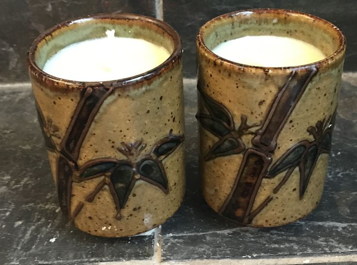 2 Peach Mango Scented Soy Candle in a Ceramic Asian Teacups with Bamboo Pattern