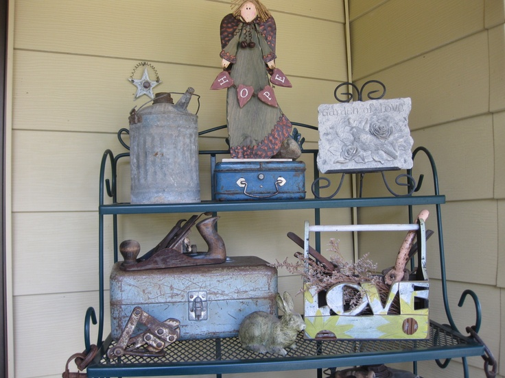 My front porch shrine decorated for spring . . .