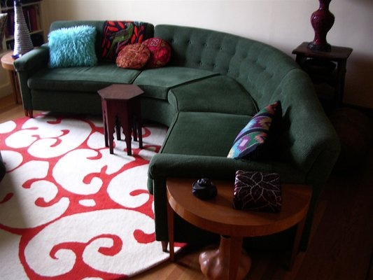 Wonderful A Thrifted Sectional Sofa Paired With An Incredible Rug And Accessories.