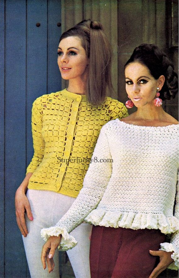 2 crochet PDF pattern Vintage pullover blouse n by Superlucky8com