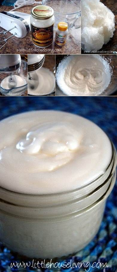 Coconut oil lotion - 1 cup coconut oil; 1 tsp vitamin E (can just use capsules) Mix with electric mixer for 7 min and Done!