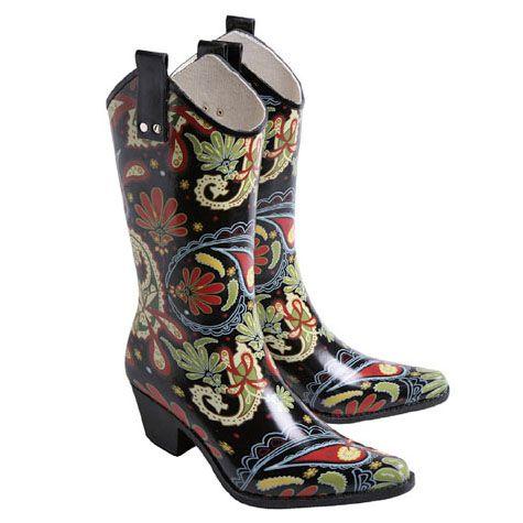 Cowboy Rain Boots!Cowboy Boots, Cowgirls Rainboots, Rain Bootswant, Paisley Cowboy, Cowboy Rain Boots, Cowboy Decor, Cowboy Rainbootslov, Rainy Days, Cowboy Rainboots Lov