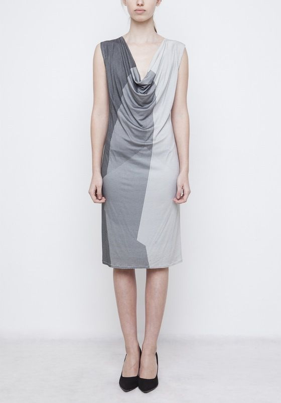 Image of Geometric Cowl neck dress