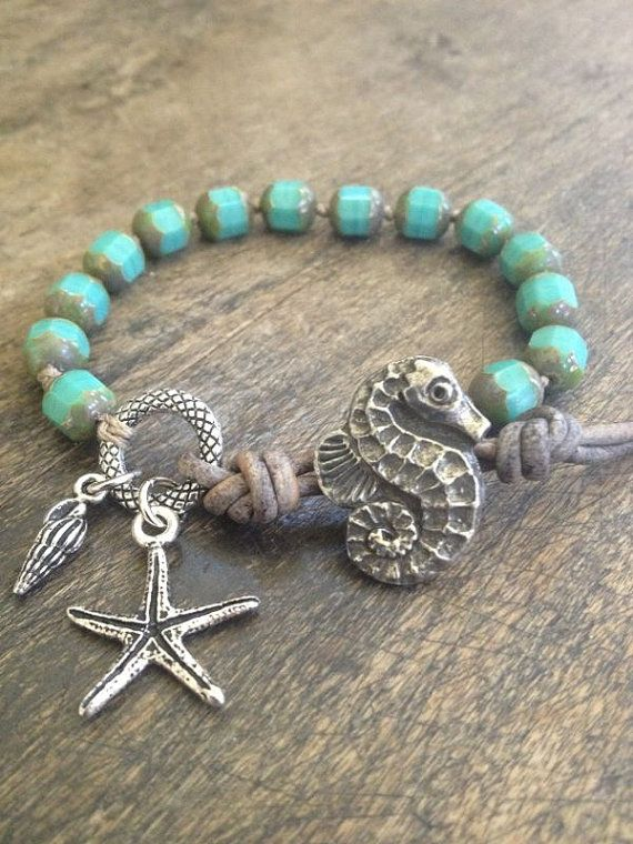 Sea Horse & Starfish Knotted Leather Wrap Bracelet, Turquoise Beach Endless Summer