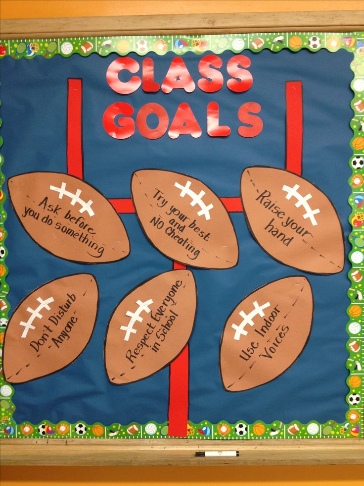 Sports themed bulletin board for the fall. This board specifically lists the class goals. Some of them include ask before you do something, raise your hand, and don't disturb anyone. -Amy Miskowicz