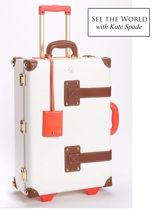 Very cool luggage from Kate Spade. This is clearly a carry on only item. Besides it being so expensive you would never let it out of your site, I doubt that gorgeous white would look so great after a trip on an airport carousel.