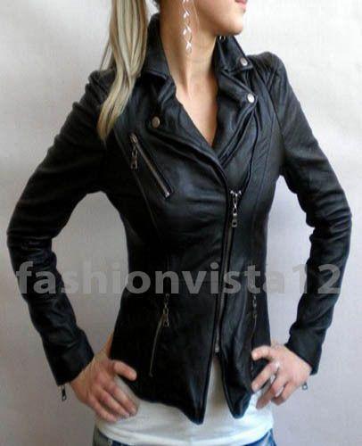 Style Croped Motorcycle Black Custom Made New Designer Leather Jackets for Women   eBay
