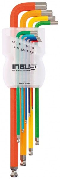 INBUS® 70266 - Farbcodiert 9tlg. 1,5-10mm Made in Germany      Satz 9tlg. 1.5-10mm     hochwertig pulverbeschichtet     jeder Größe ist eine eigene Farbe zugeordnet     optisch sehr ansprechend und funktional     10 Jahre Garantie     Marke: INBUS® - Das Original seit 1934.  http://www.inbus.de/home/inbus-farbcodiert/47/inbus-70266-inbusschluessel-satz?c=8