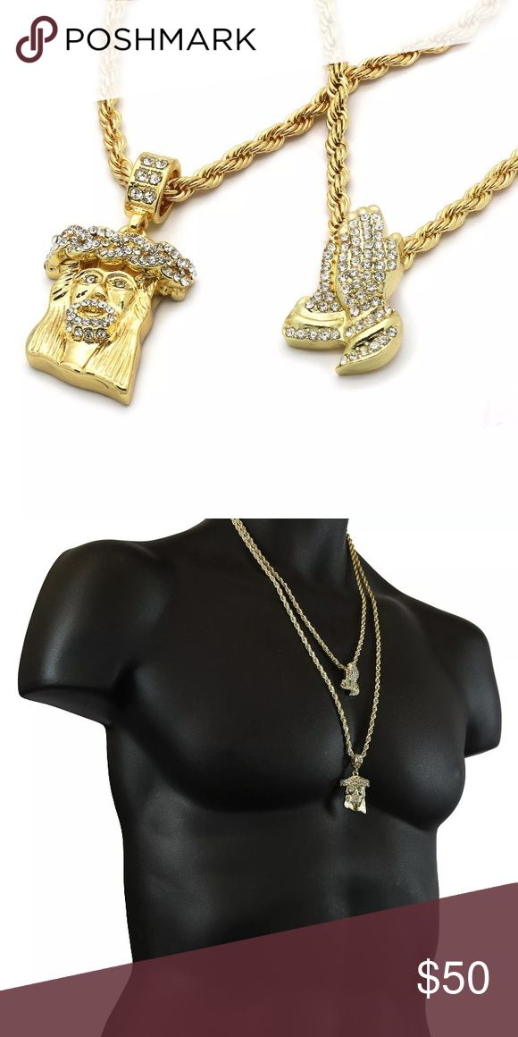 """14K Gold Iced Out Praying Hands Jesus Rope Chain Two chains and two pendant set!!  Jesus & Prayer Hands Bundle Pendants  2 Rope Chains Measurements:   Width: 4mm - Length: 30"""" Inches Width: 4mm - Length: 24"""" Inches  This listing is for 4 pieces total! Wonderful and fashionable 14K Gold Plated pendants and two rope chains to match! Accessories Jewelry"""