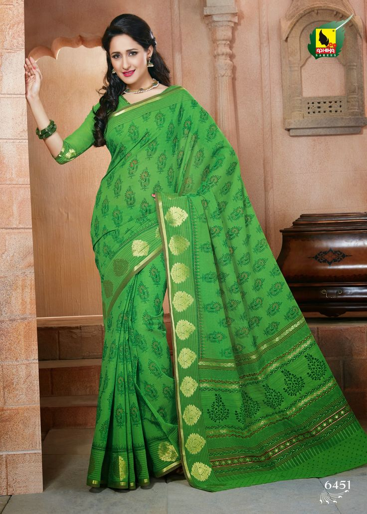 Bring attitude to your style with this exclusive saree in green color crafted on cotton material. The saree is engrossed with machine embroidery adding the necessary glam to it. This saree is accompained with matching blouse piece. for Just Rs. 1290