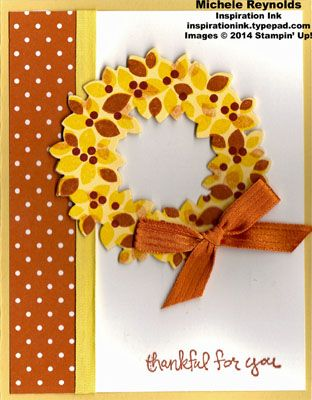 Stampin' Up! ... handmade Thanksgiving card ... Wondrous Wreath fall wreath watermark ... pretty Fall colors ... like the layout design and how the ribbon bow balances it all ...