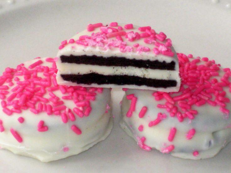 Pink Oreos - 1 Dozen (12) Valentines Day Baby Shower Girls Birthday Party Favors Chocolate Cookies Candy White Milk Chocolate. $16.00, via Etsy.
